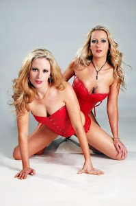 Duo red corset strippers melbourne