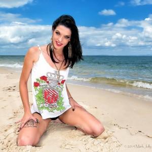 Sexy Brisbane topless waitress on beach